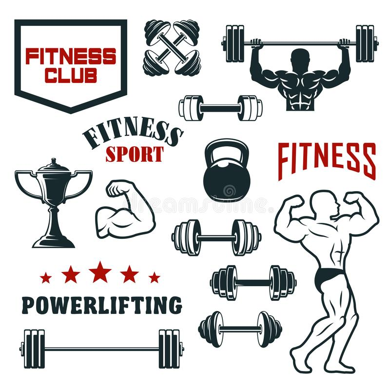 Sprawność fizyczna sporta klub, gym i bodybuilding ikony set, ilustracja wektor