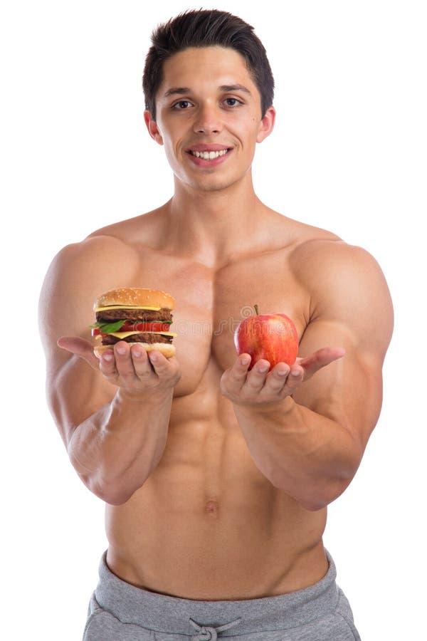 Sprawność fizyczna sporty dostosowywali dieta jabłczanego owocowego hamburgeru łasowania zdrowego bod zdjęcie stock