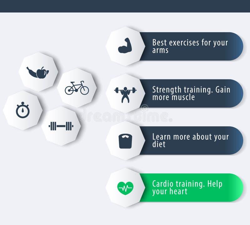 Sprawność fizyczna, szkolenie, gym, trening ikony z 3d geometrycznym sztandarem w zmroku i zieleń, - błękit ilustracji