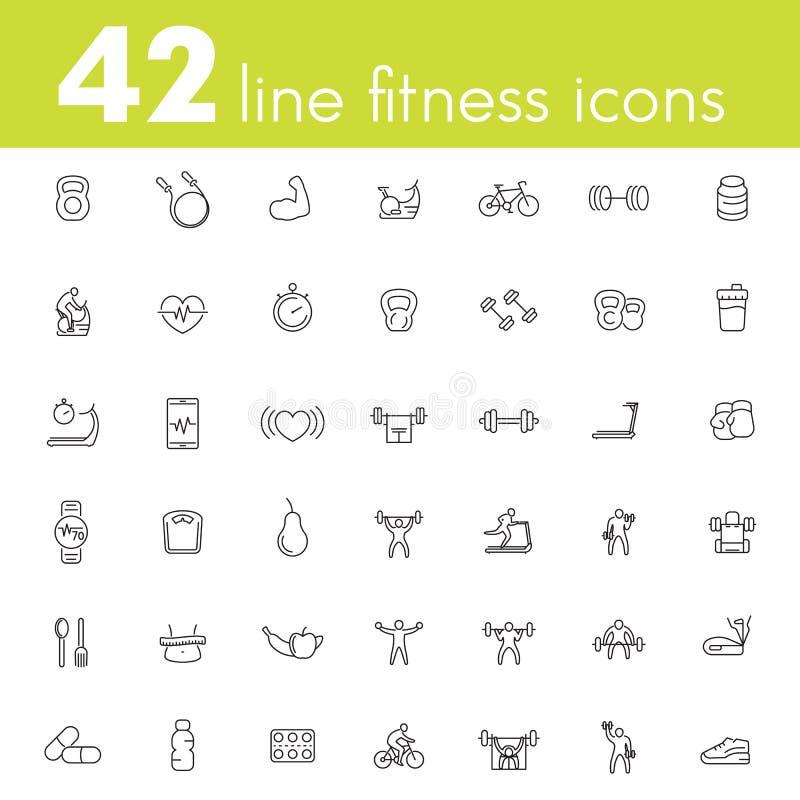 Sprawność fizyczna, trening, gym ikony pakuje, liniowy royalty ilustracja