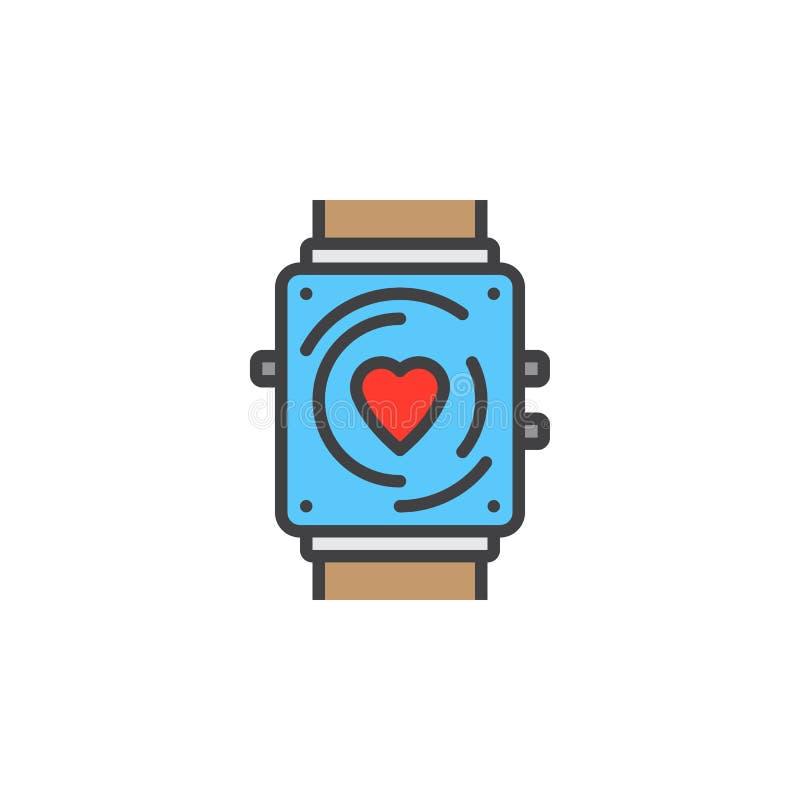 Sprawność fizyczna tropiciela linii ikona, smartwatch wypełniający konturu wektoru znak, liniowy kolorowy piktogram odizolowywają royalty ilustracja