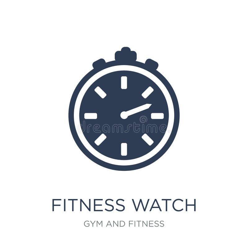 sprawność fizyczna zegarka ikona Modna płaska wektorowa sprawność fizyczna zegarka ikona na whi royalty ilustracja
