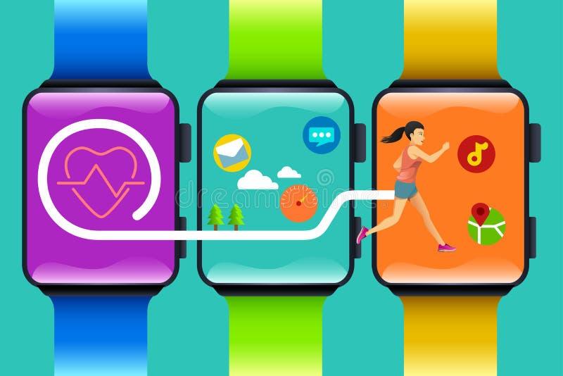 Sprawność fizyczna zegarka technologii pojęcie ilustracja wektor