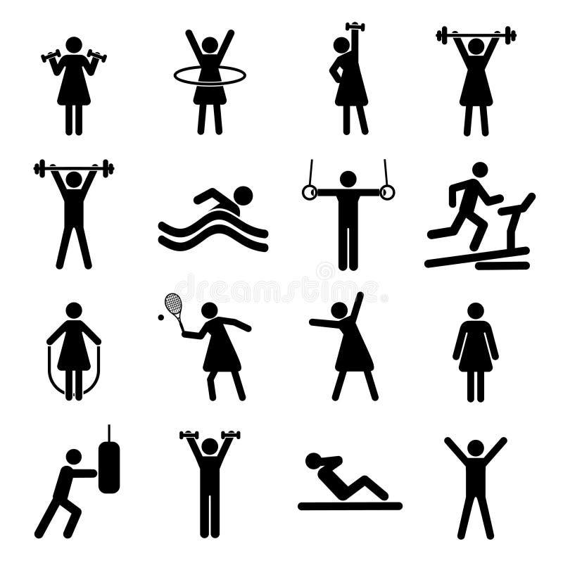 Sprawności fizycznej bezszwowy tło z czarnymi płaskimi ikonami Sporta wzór ilustracja wektor