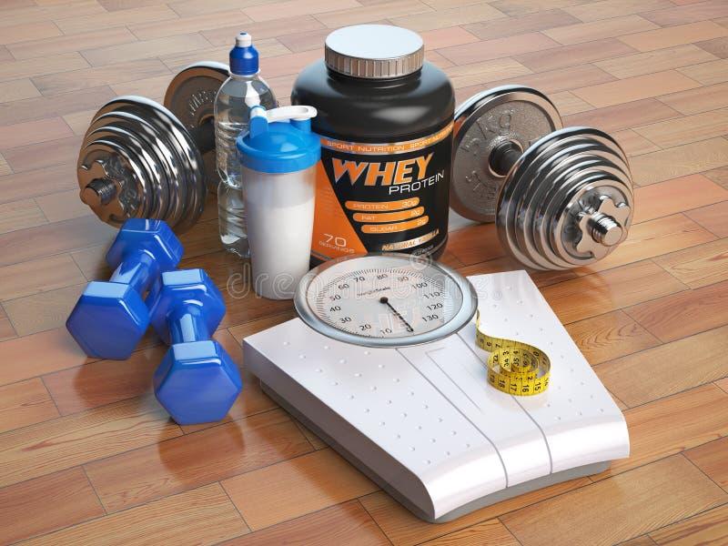 Sprawności fizycznej, bodybuilding lub ciężaru straty pojęcie, Ciężar waży, duma ilustracji