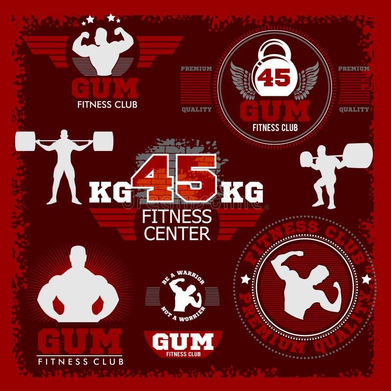 Sprawności fizycznej bodybuilding rocznika etykietka dla flayer ilustracja wektor