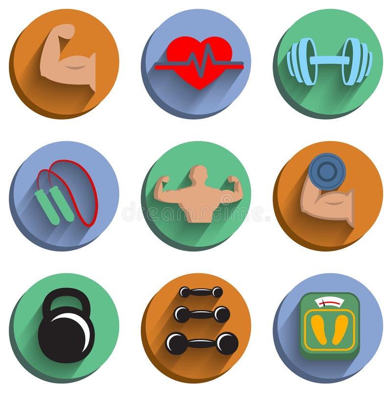 Sprawności fizycznej bodybuilding sporta ikony ustawiać ilustracja wektor