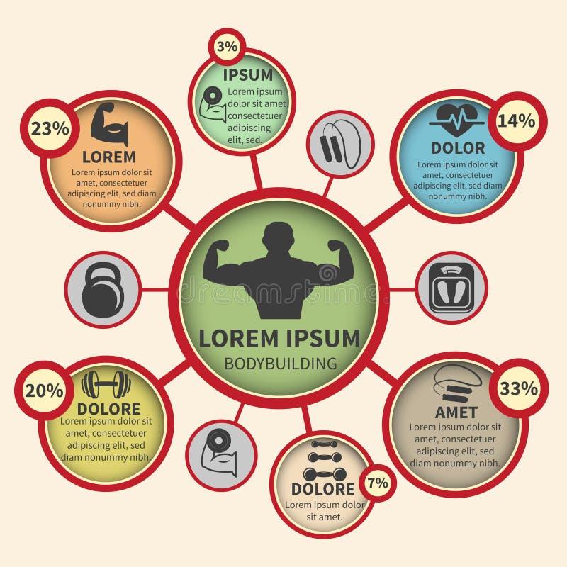 Sprawności fizycznej bodybuilding sporta infographics ilustracji