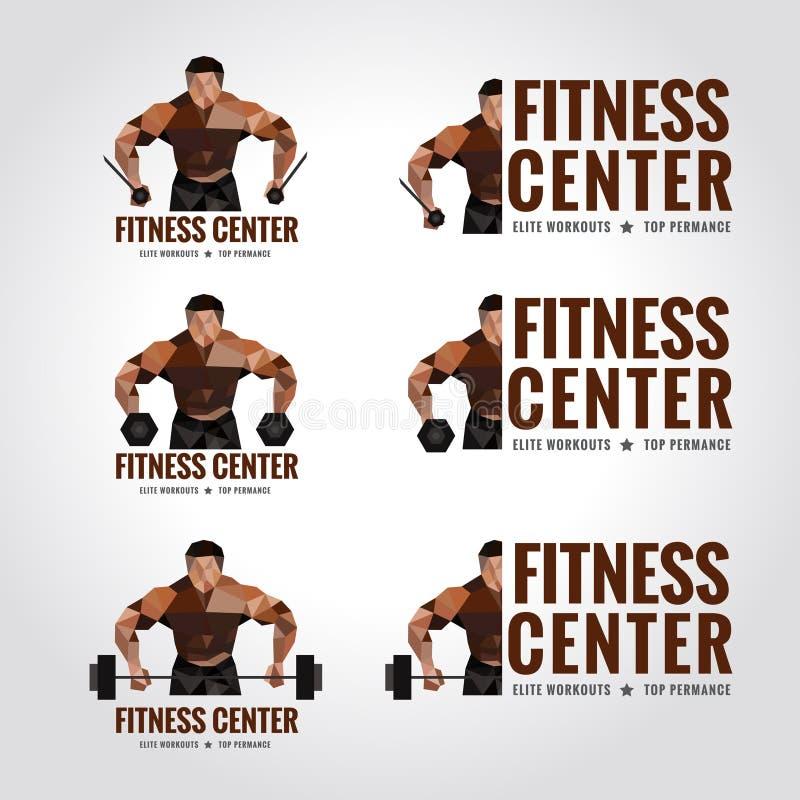 Sprawności fizycznej centrum loga niski poli- (mężczyzna mięśnia siła i ciężaru udźwig) ilustracji