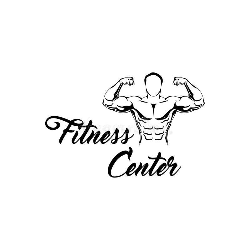 Sprawności fizycznej centrum logo Mężczyzna z mięśniami Pozować bodybuilding Wektorowa kartoteka royalty ilustracja