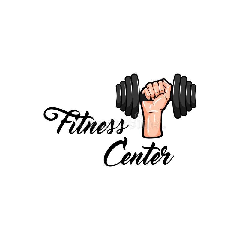 Sprawności fizycznej centrum logo Sporta wyposażenia odznaka Sprawność fizyczna klubu etykietka Ręki mienia ciężar wektor royalty ilustracja