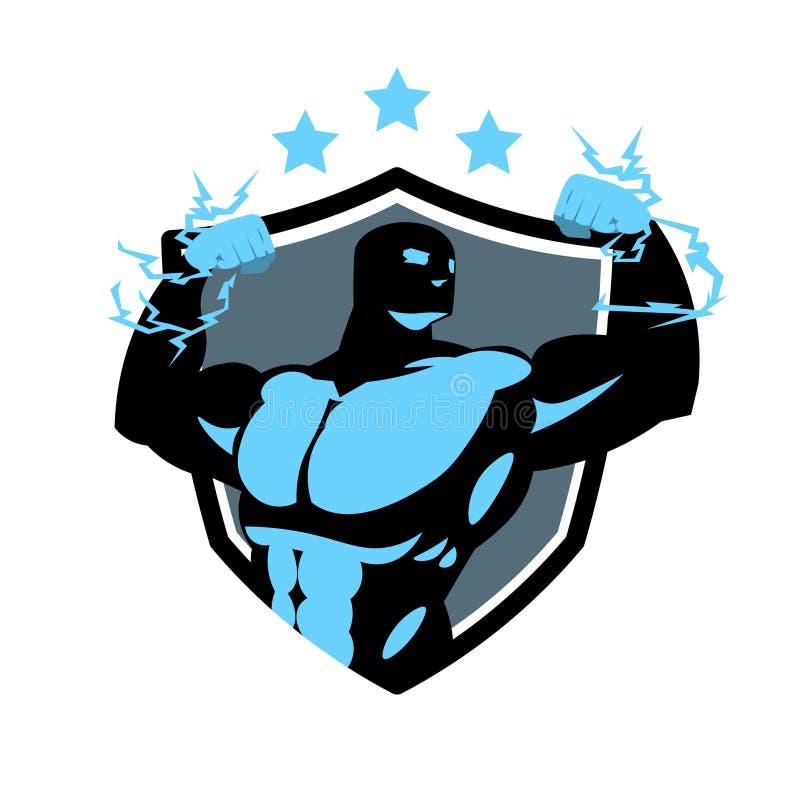 Sprawności fizycznej centrum logo Z sylwetki Bodybuilder mężczyzna Gym ikony Nowożytnym szablonem royalty ilustracja