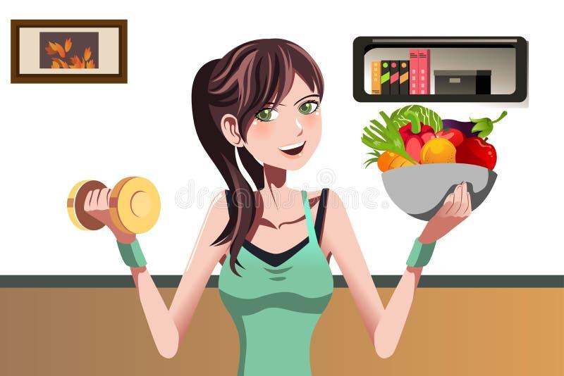Sprawności fizycznej dziewczyna ilustracji