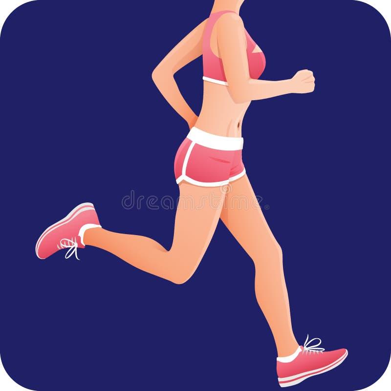 Sprawności fizycznej dziewczyna, sportsmenka, żeńskiego biegacza działająca ikona ilustracji