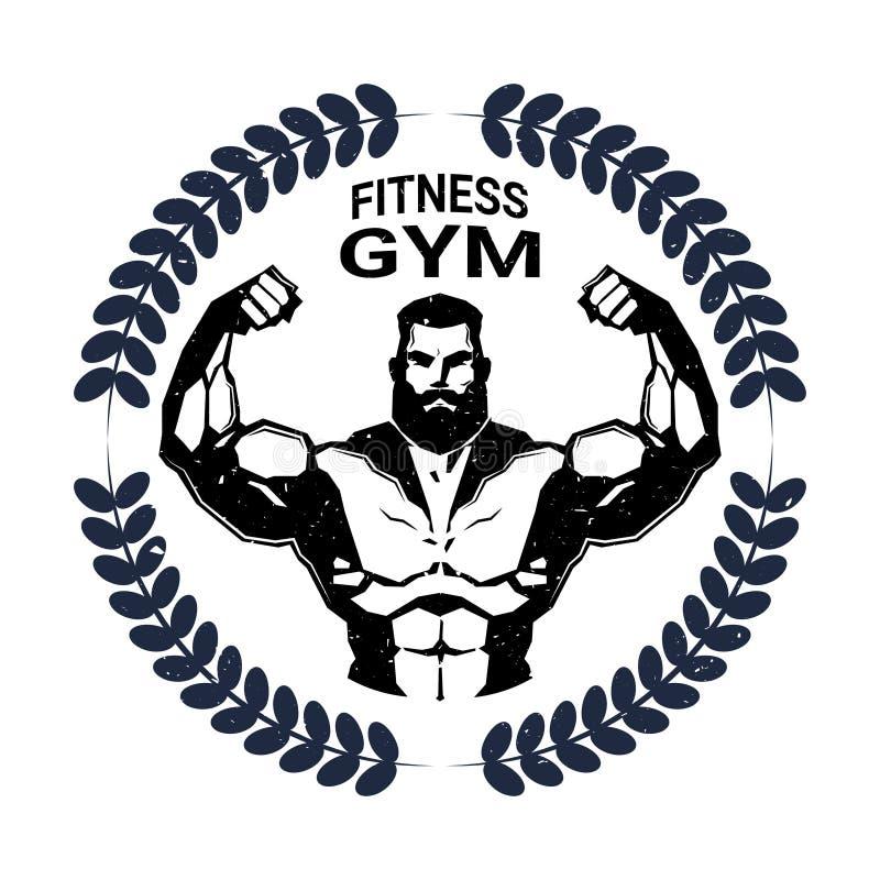 Sprawności fizycznej Gym emblemat Z Silną Sportową mężczyzna Bodybuilder sylwetką Na Białym tło sporta centrum logu ilustracji