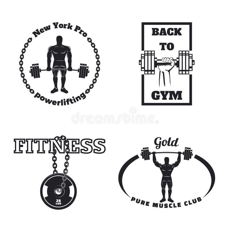 Sprawności fizycznej gym emblematy royalty ilustracja