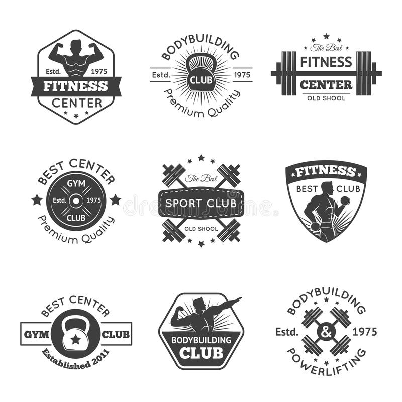 Sprawności fizycznej Gym emblematy Ustawiający ilustracja wektor