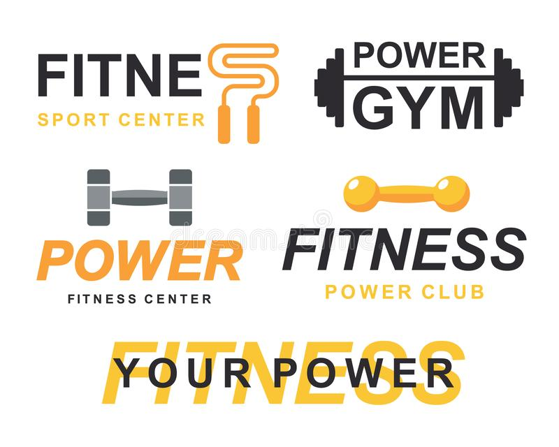 Sprawności fizycznej gym logo podpisuje kolekcję, bodybuilding świetlicowe emblematów szablonów ikony ustawiać ilustracji