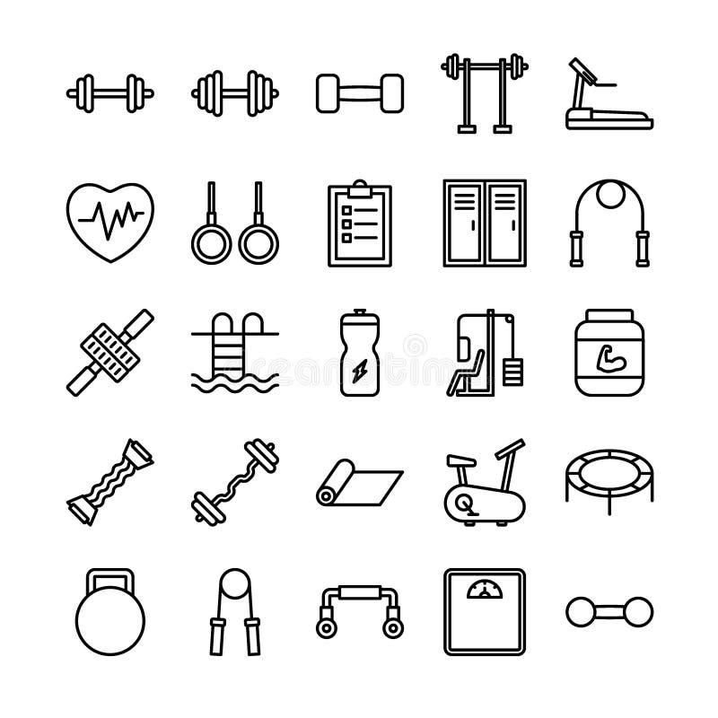 Sprawności fizycznej i sporta konturu ikony set ilustracja wektor