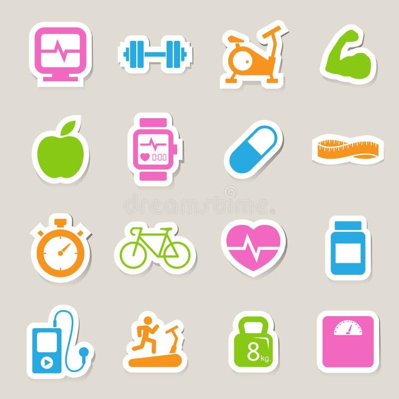 Sprawności fizycznej i zdrowie ikony. royalty ilustracja