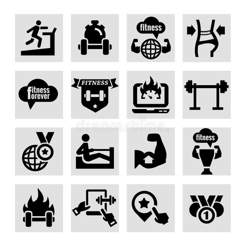 Sprawności fizycznej i zdrowie ikony ilustracji