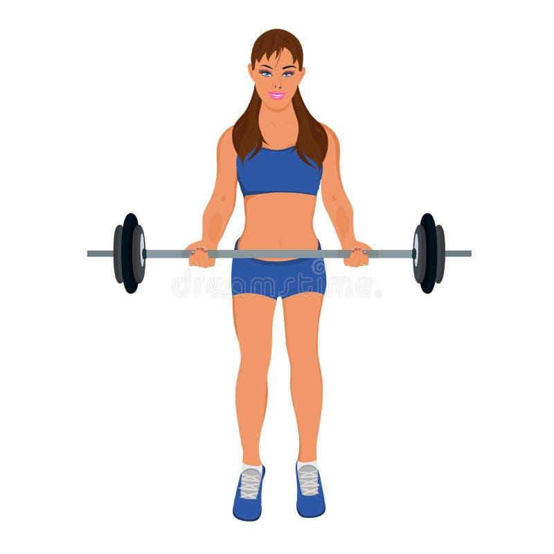 Sprawności fizycznej kobieta ćwiczy z barbell, wektorowa ilustracja royalty ilustracja