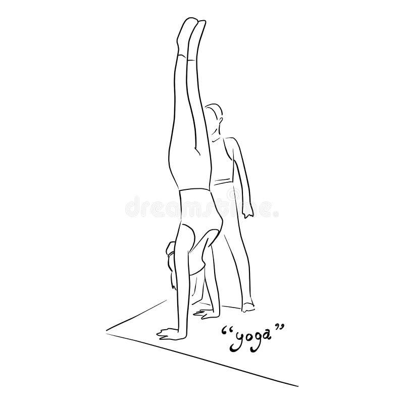 Sprawności fizycznej kobieta robi joga jej instruktorem na matowej wektorowej ilustracji z czerni liniami odizolowywać na białym  ilustracja wektor