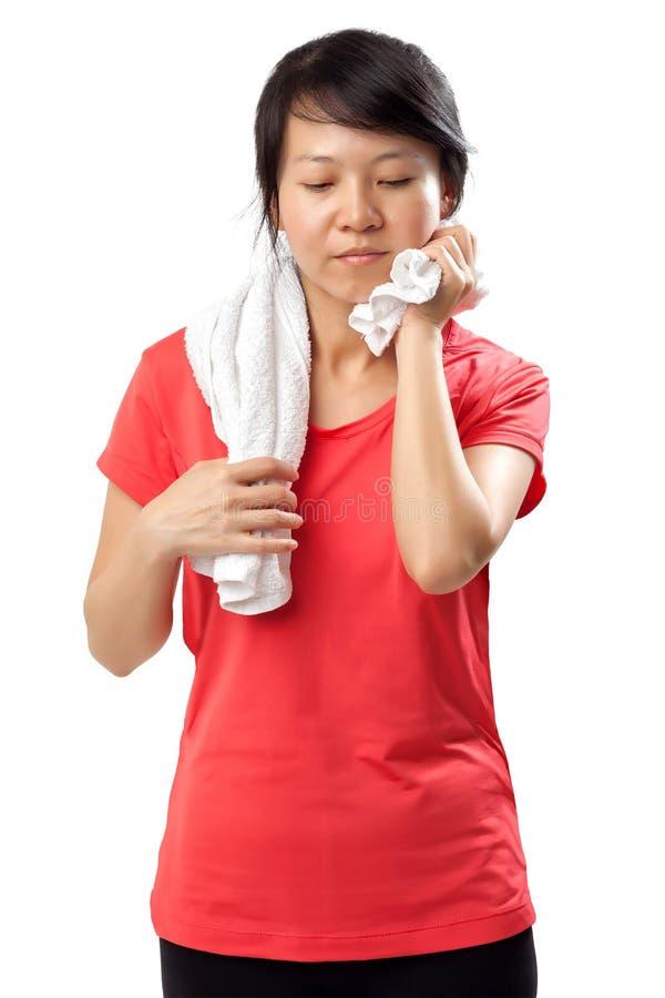 Sprawności fizycznej kobiety pocenie zdjęcie stock
