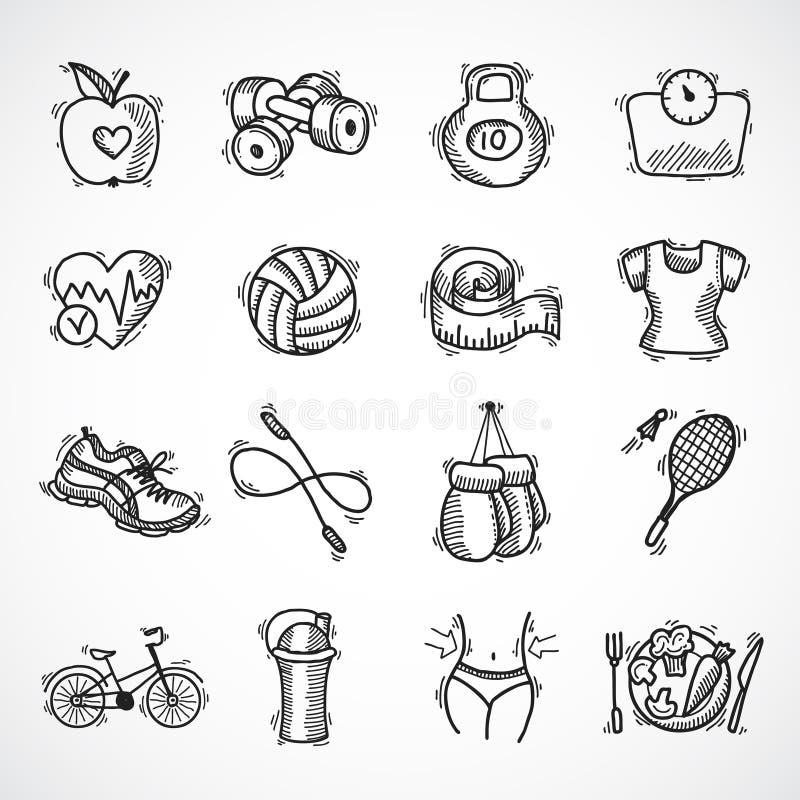 Sprawności fizycznej nakreślenia ikony ustawiać ilustracja wektor