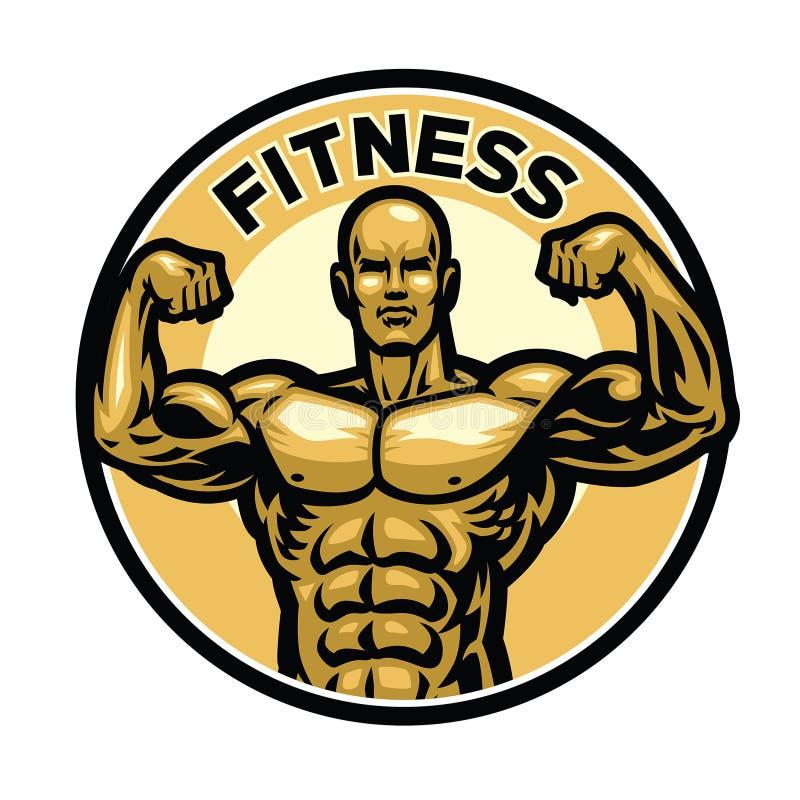 Sprawności fizycznej odznaka z mięśniowym bodybuilder ilustracji