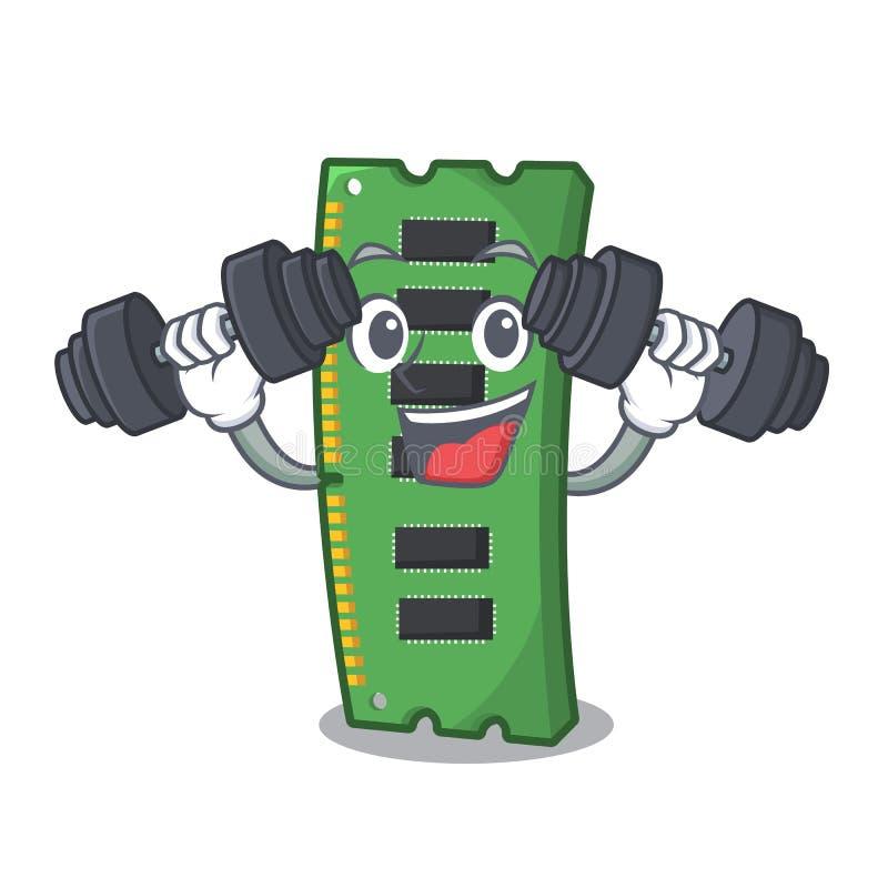 Sprawności fizycznej RAM karta pamięci odizolowywająca w kreskówce ilustracji