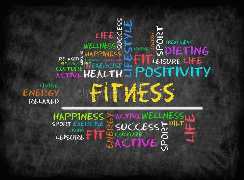 Sprawności fizycznej słowa chmura, sprawność fizyczna, sport, zdrowia pojęcie na chalkboar royalty ilustracja