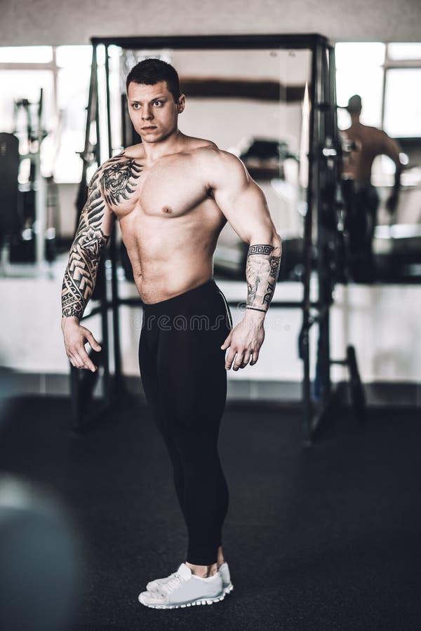 Sprawności fizycznej samiec z wysokim poziomem ciała szkolenia pozować zdjęcie stock