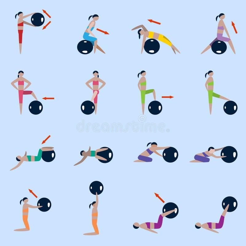 Sprawności fizycznych balowe ikony ustawiać ilustracja wektor