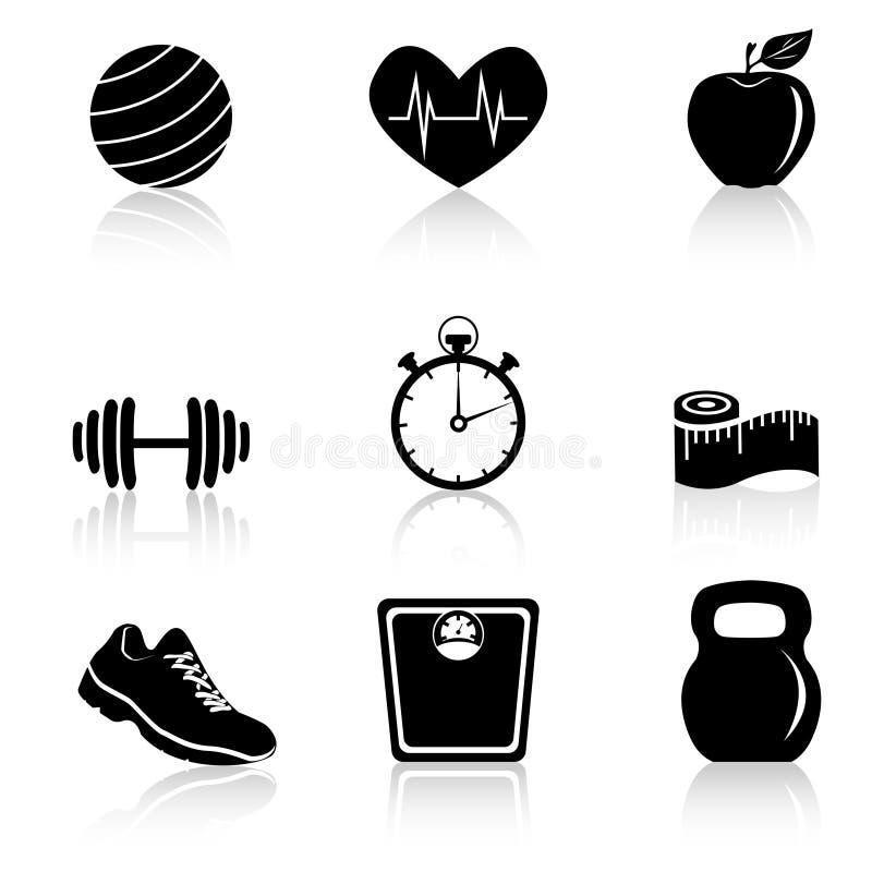 Sprawności fizycznych czarne ikony ilustracja wektor