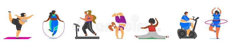 Sprawności fizycznych Grube dziewczyny Plus rozmiar Zdrowie sport w klubie Kobieta robi ćwiczeniom, gubi ciężar, biega na symulan ilustracja wektor