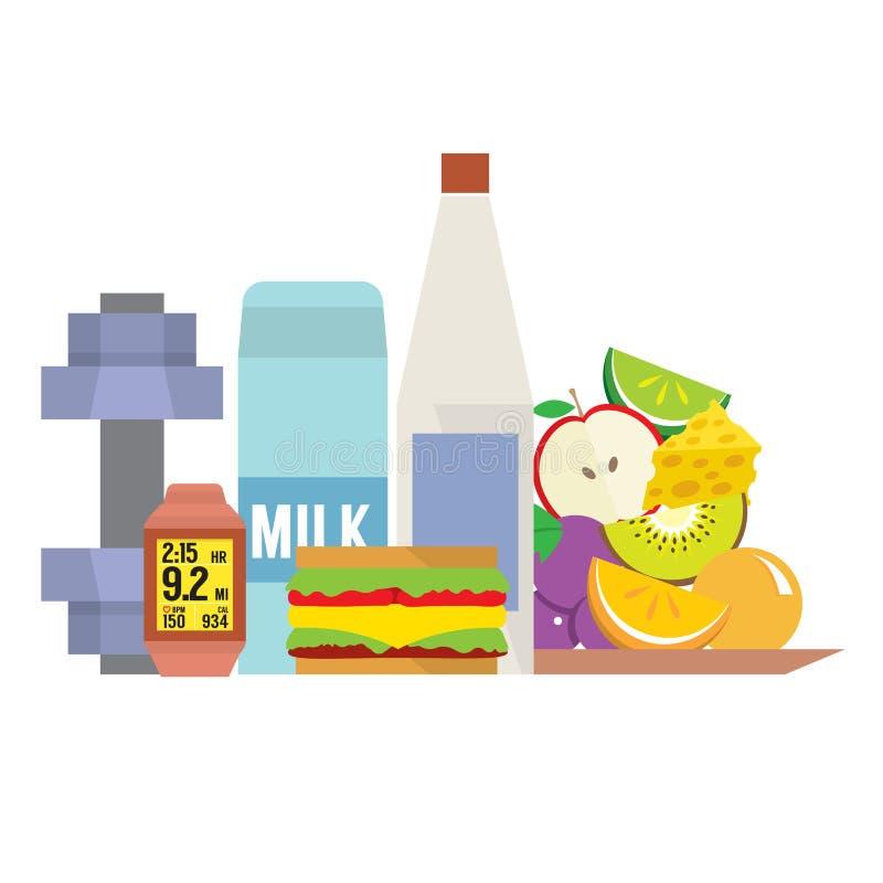 Sprawności fizycznych narzędzia Z Zdrowym jedzeniem royalty ilustracja
