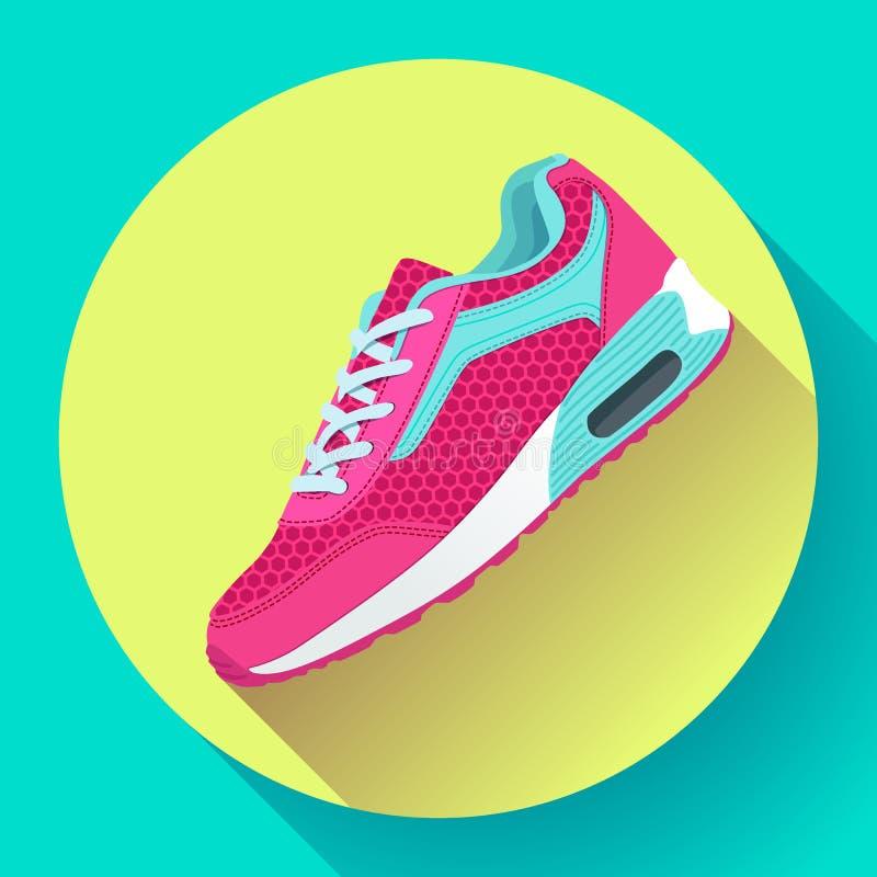 Sprawności fizycznych sneakers buty dla trenować działającego buta płaskiego projekt z długim cieniem royalty ilustracja