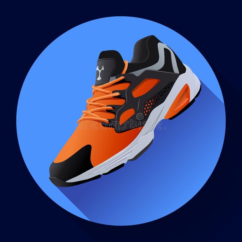 Sprawności fizycznych sneakers buty dla trenować działającego buta płaskiego projekt z długim cieniem ilustracja wektor
