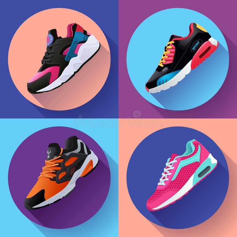 Sprawności fizycznych sneakers buty dla trenować działającego buta płaskiego projekt z długim cieniem Sportów buty Ustawiający ilustracja wektor