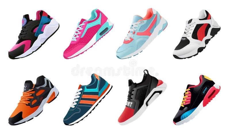 Sprawności fizycznych sneakers buty dla trenować działającego but Sportów buty Ustawiający ilustracja wektor