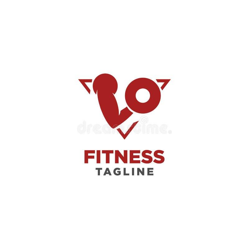 Sprawno?? fizyczna logo Symbol sporta barbel, zdrowie, ilustracja świeży życie ilustracji