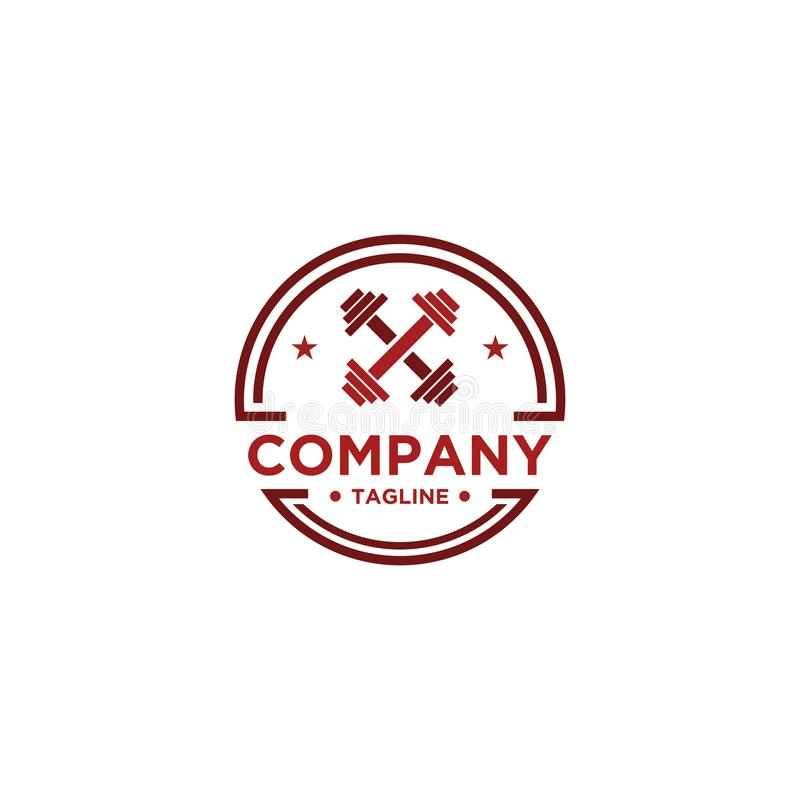 Sprawno?? fizyczna logo Symbol sporta barbel, zdrowie, ilustracja świeży życie royalty ilustracja
