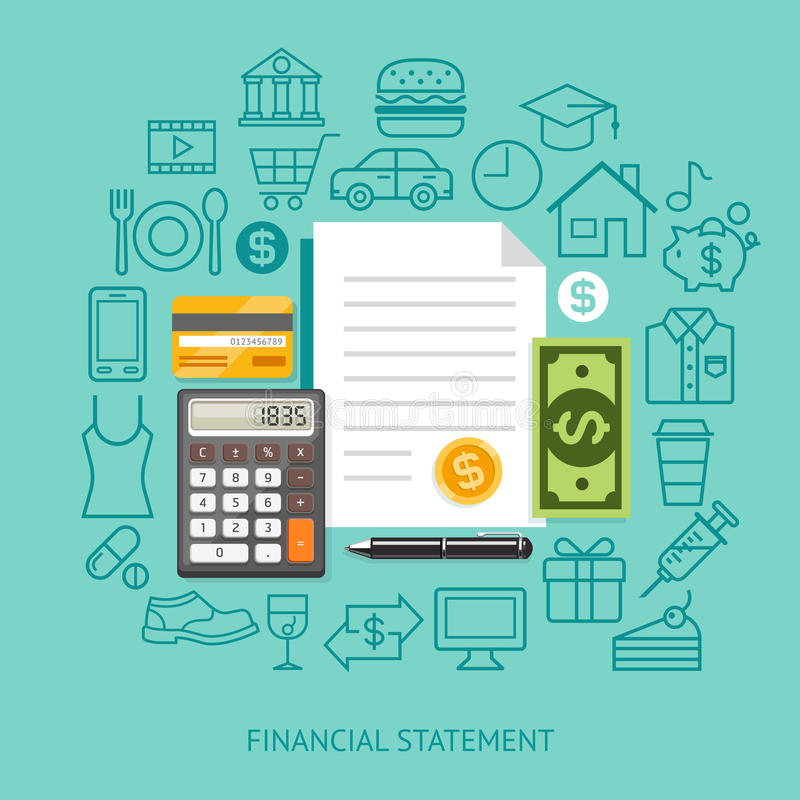 Sprawozdania Finansowego mieszkania Konceptualny styl również zwrócić corel ilustracji wektora ilustracji