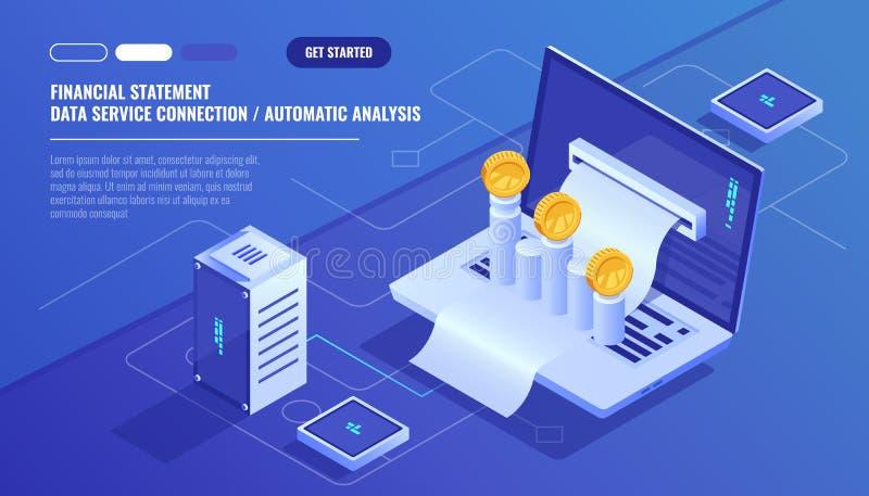 Sprawozdanie finansowe, analiza i statystyczni online servises, laptop z płatniczym rozkładem, pieniądze gotówkowa księgowość ilustracja wektor