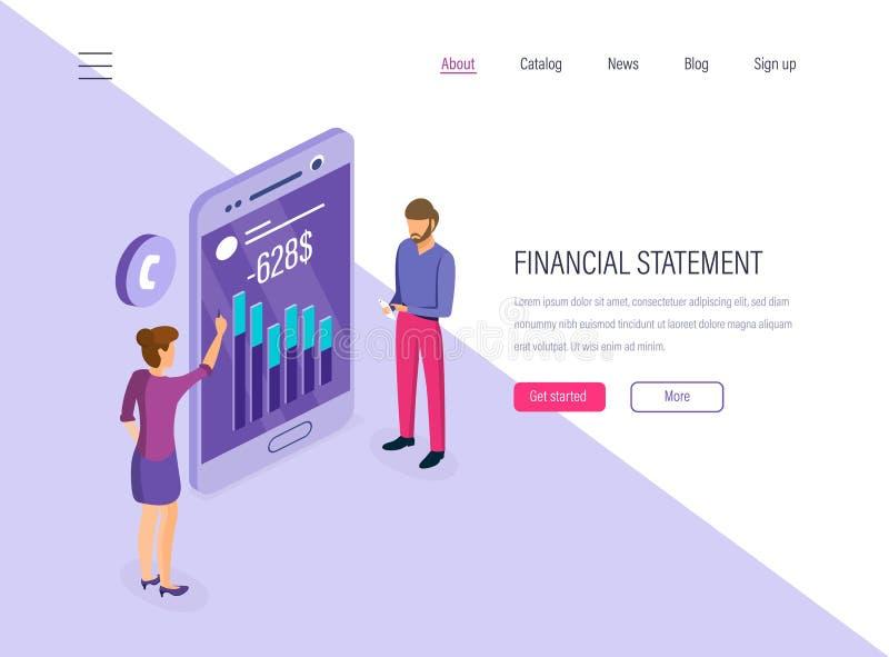 Sprawozdanie finansowe Rozliczać, pieniężny obliczenie i planowanie, ekonomiczni raporty ilustracji