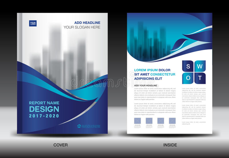 Sprawozdanie roczne broszurki ulotki szablon, błękit pokrywy projekt ilustracji