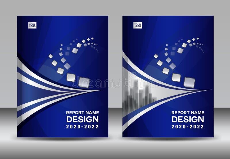 Sprawozdanie roczne broszurki ulotki szablon, błękit pokrywy projekt, biznesowa reklama, magazyn reklamy, katalogu wektor ilustracji