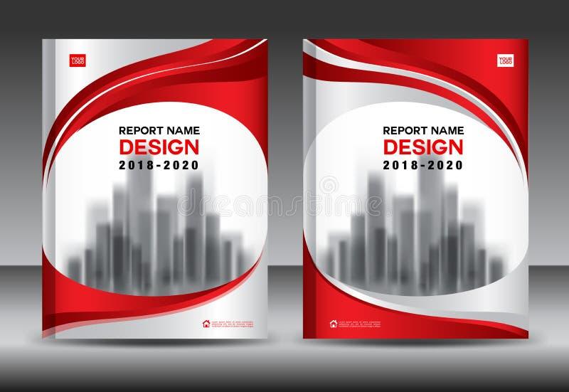 Sprawozdanie roczne broszurki ulotki szablon, czerwieni pokrywy projekt ilustracja wektor