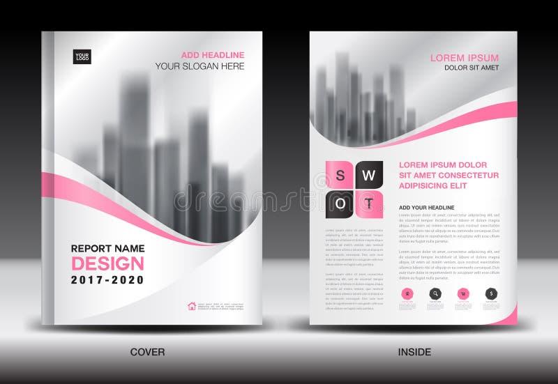 Sprawozdanie roczne broszurki ulotki szablon, menchii pokrywy projekt ilustracja wektor